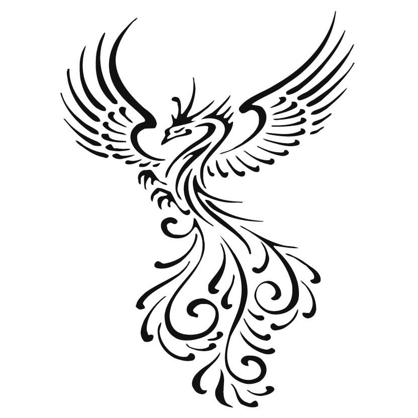 cool tribal phoenix tattoo stencil. Black Bedroom Furniture Sets. Home Design Ideas