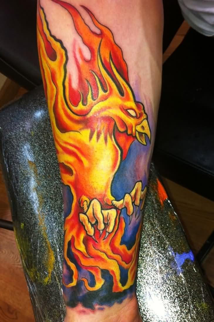 Colorful phoenix tattoo designs - Flaming Phoenix Tattoo Design For Forearm