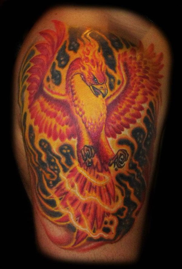 38 fantastic phoenix tattoos. Black Bedroom Furniture Sets. Home Design Ideas