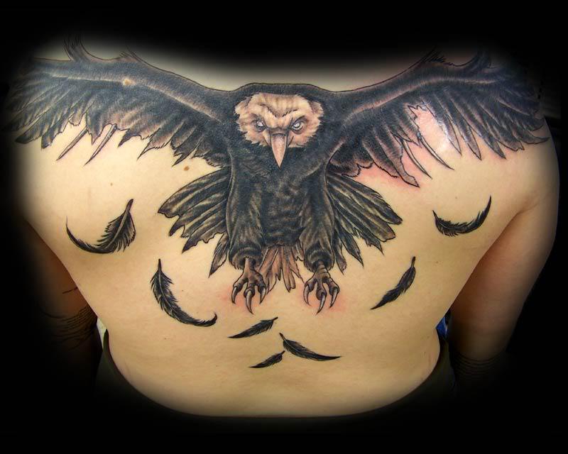 13 upper back tattoo design ideas for Eagle tattoo on back