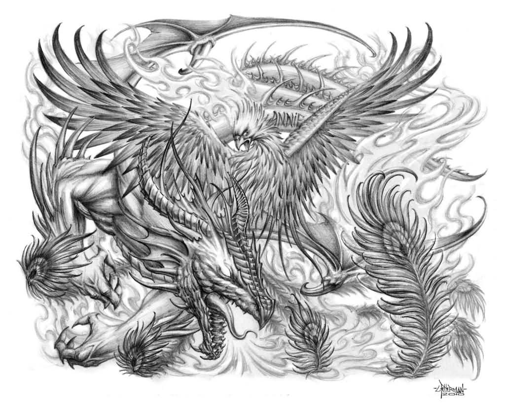 Grey Ink Dragon With Phoenix Tattoo Design By Loren Fetterman