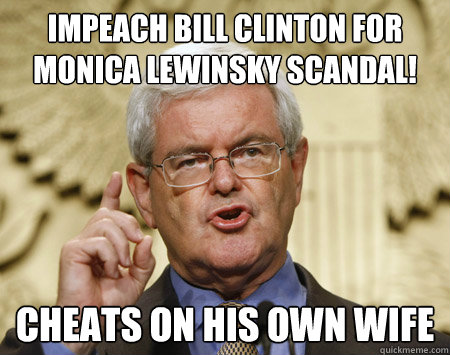 Impeach Bill Clinton For Monica Lewinsky Scandal Funny Bill Clinton Meme Image