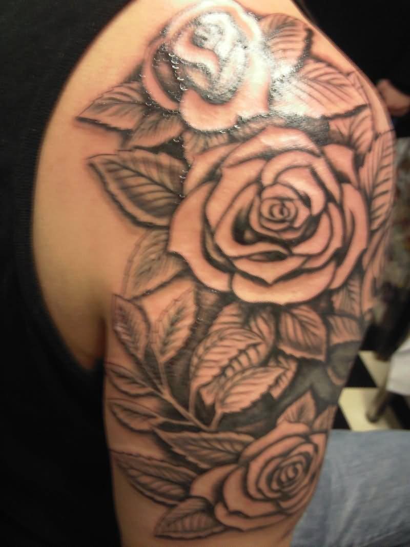 12 rose flowers tattoos on shoulder. Black Bedroom Furniture Sets. Home Design Ideas