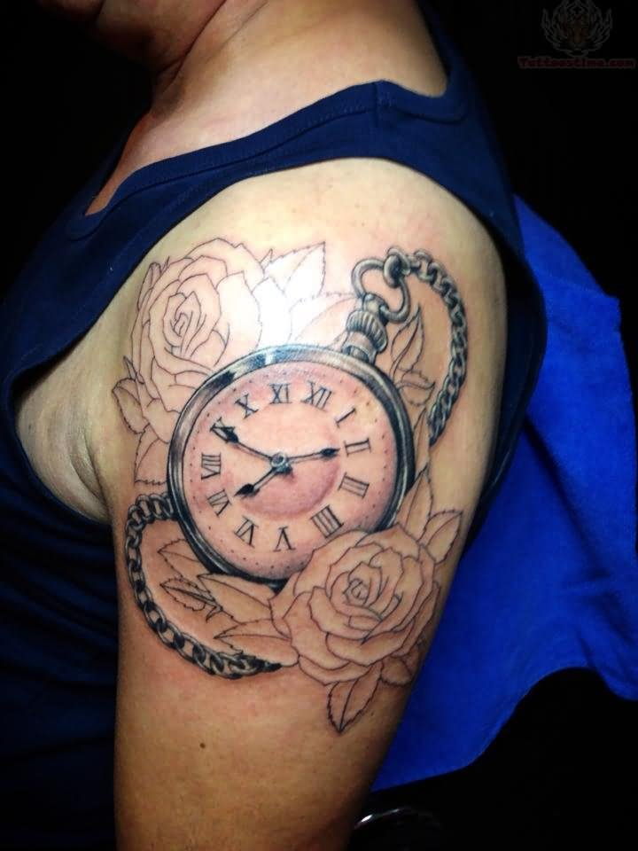 a7a3be1927e4b Outline Rose Flowers And Pocket Watch Tattoo On Left Shoulder