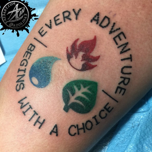 Pokemon Fire Water Grass Symbol Tattoo Design For Sleeve