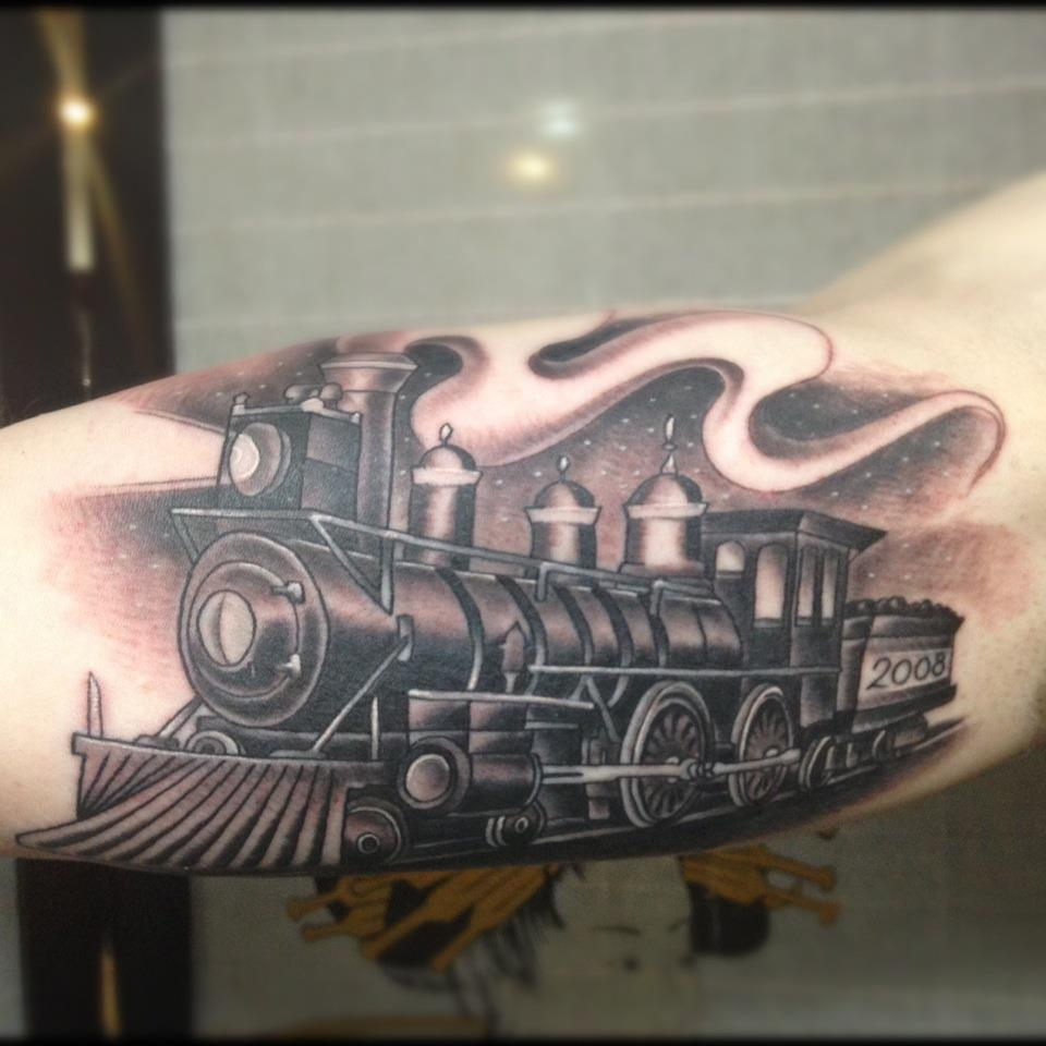 45 unique train tattoos. Black Bedroom Furniture Sets. Home Design Ideas
