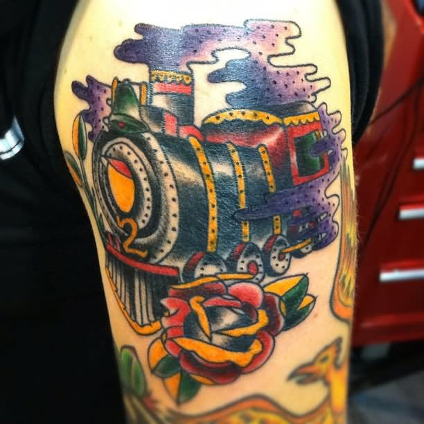 9 train tattoo on half sleeve. Black Bedroom Furniture Sets. Home Design Ideas