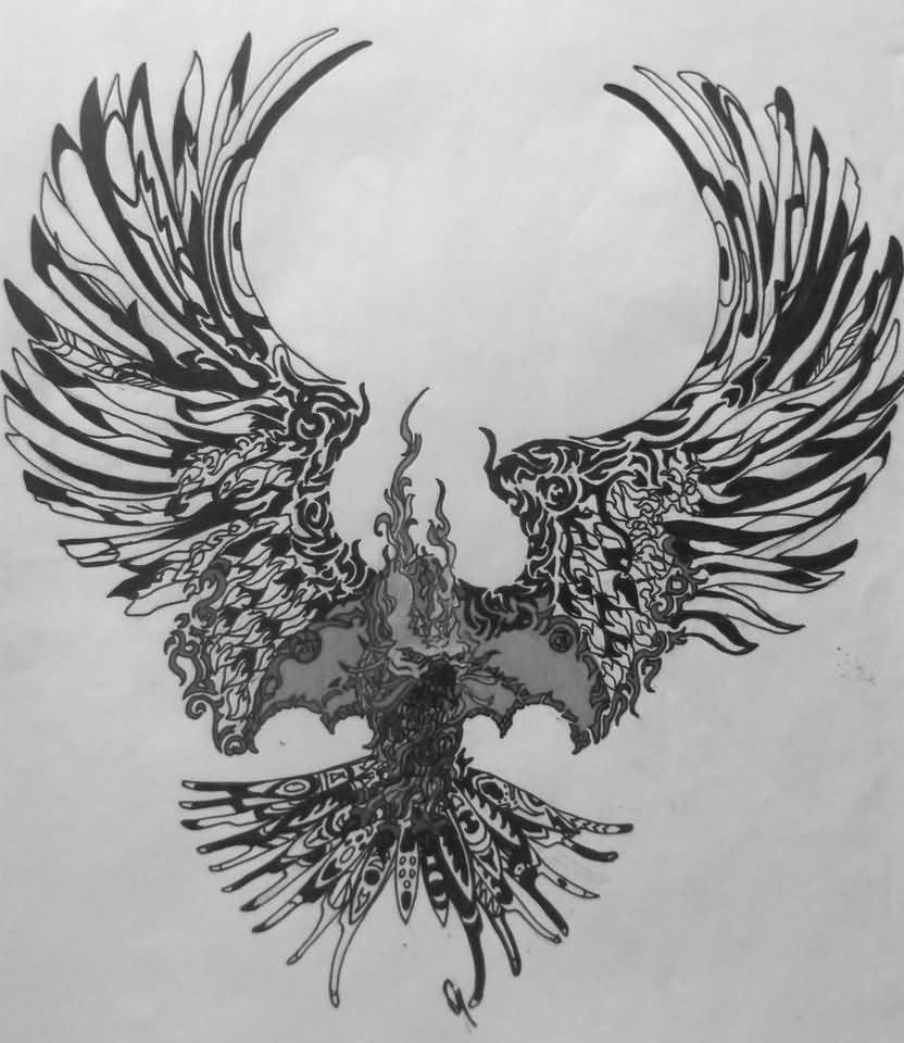 Phoenix tattoo for men - Unique Flying Phoenix Tattoo Design By Rugely