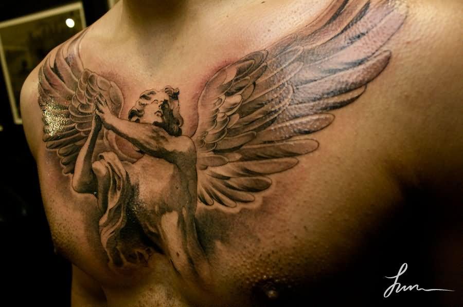 42 beautiful chest tattoos for Pretty breast tattoos