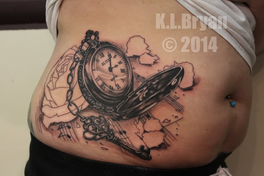 4678658e4 3D Pocket Watch Tattoo On Right Side Rib