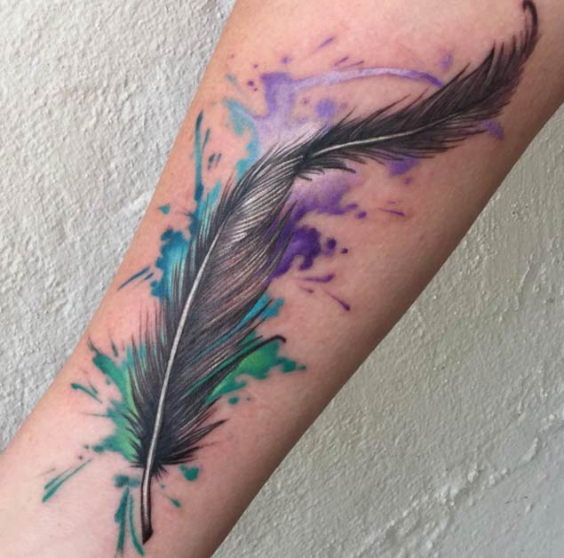 64f1d2b433002 3D Watercolor Feather Tattoo Design For Forearm By Billy