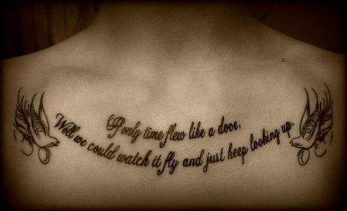 Amazing Quote With Flying Birds Tattoo On Man Chest