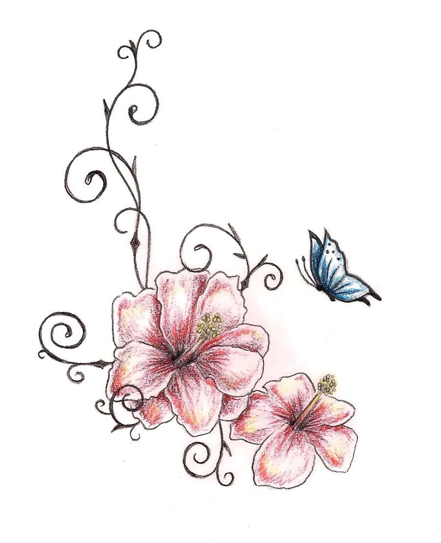 Amazing Two Hibiscus Flower With Butterfly Tattoo Design By Tashitam