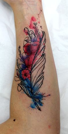 a16046f5fd0e9 Amazing Watercolor Feather Tattoo On Forearm By Greg0s