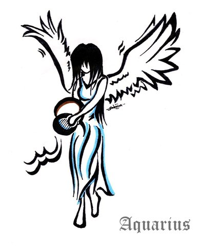 Angel Aquarius Girl Tattoo Design