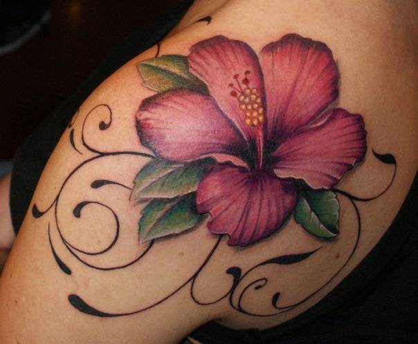 Attractive hibiscus flower tattoo on left back shoulder