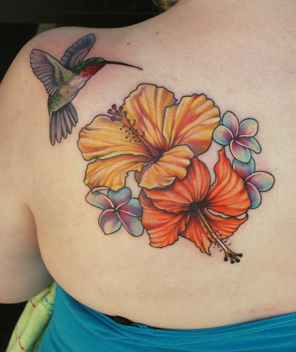 506595866 Attractive Hibiscus Flower With Hummingbird Tattoo On Left Back Shoulder