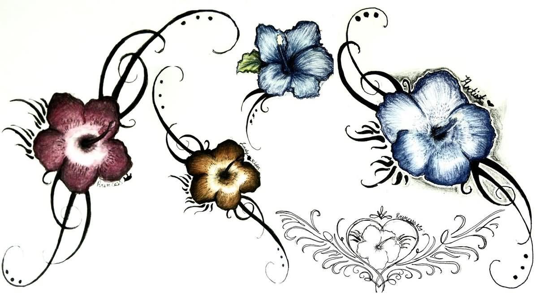 Tribal Hibiscus Tattoo Design