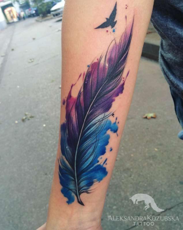 e3e48954e5bfe Attractive Watercolor Feather Tattoo Design For Forearm By Aleksandra  Kozubska