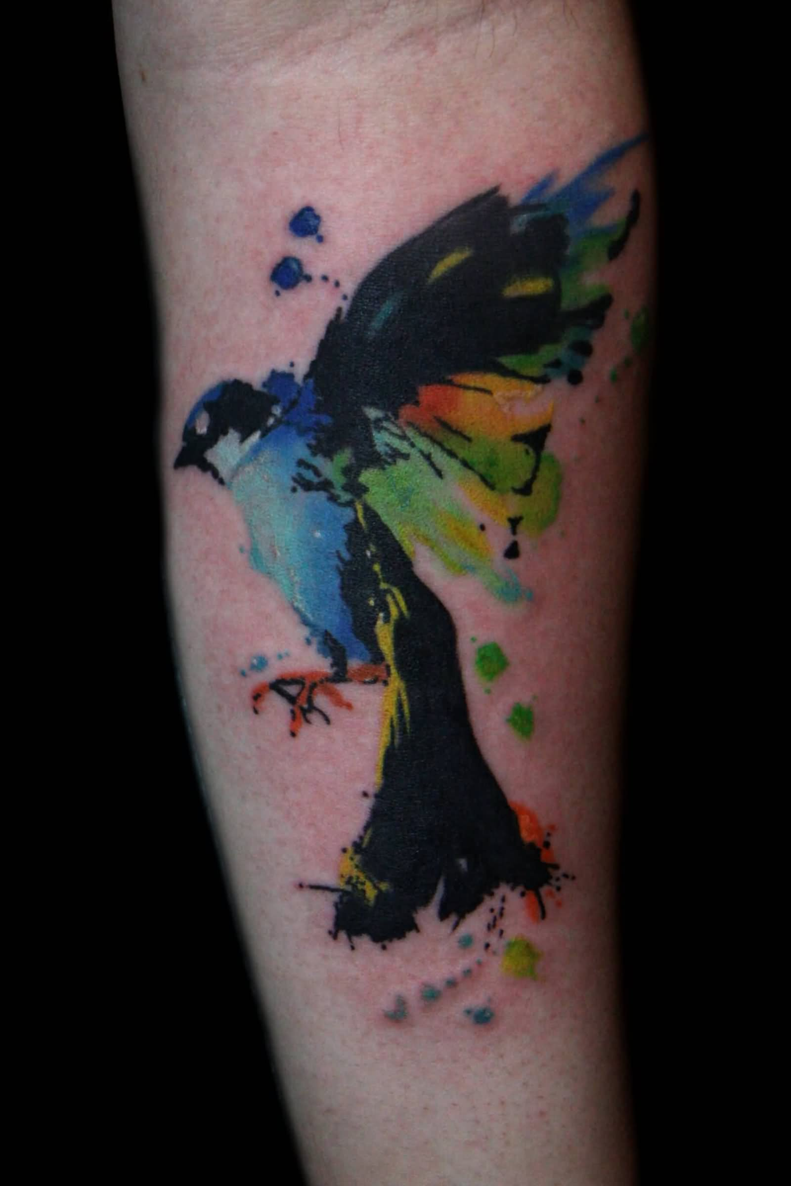 29 fantastic watercolor bird tattoos. Black Bedroom Furniture Sets. Home Design Ideas