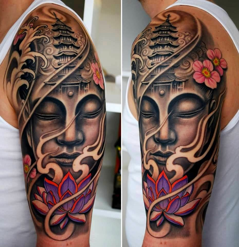46 cool half sleeve tattoos beautiful lotus flower and buddha tattoo on left half sleeve izmirmasajfo