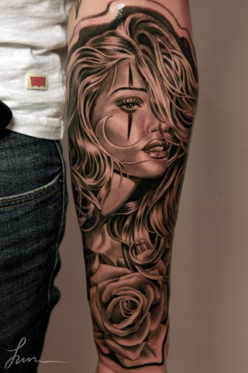 Black And Grey 3d Girl Face With Rose Tattoo On Forearm