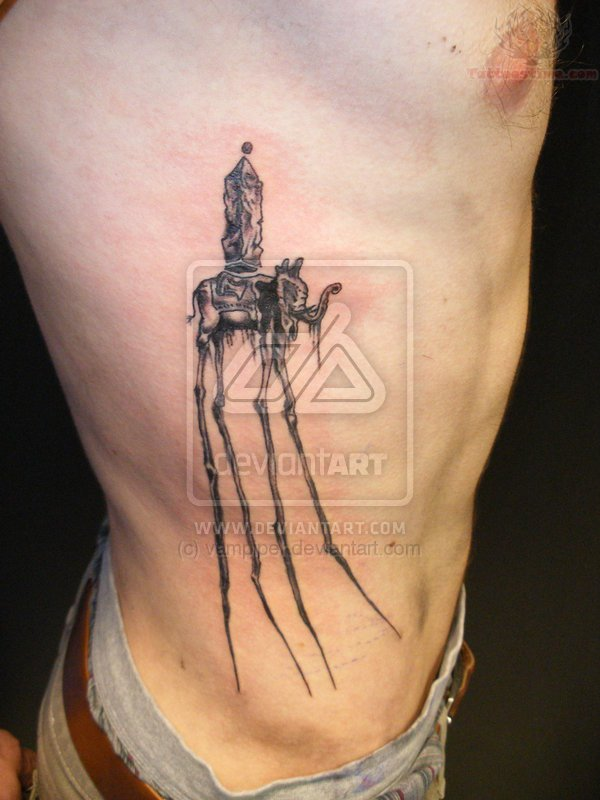 Black And Grey Dali Elephant Tattoo On Man Right Side Rib