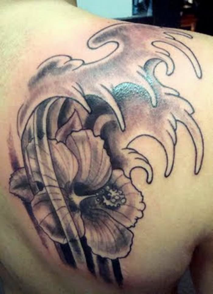 fcb22c532 Black And Grey Hibiscus Flower Tattoo Design For Men Back Shoulder