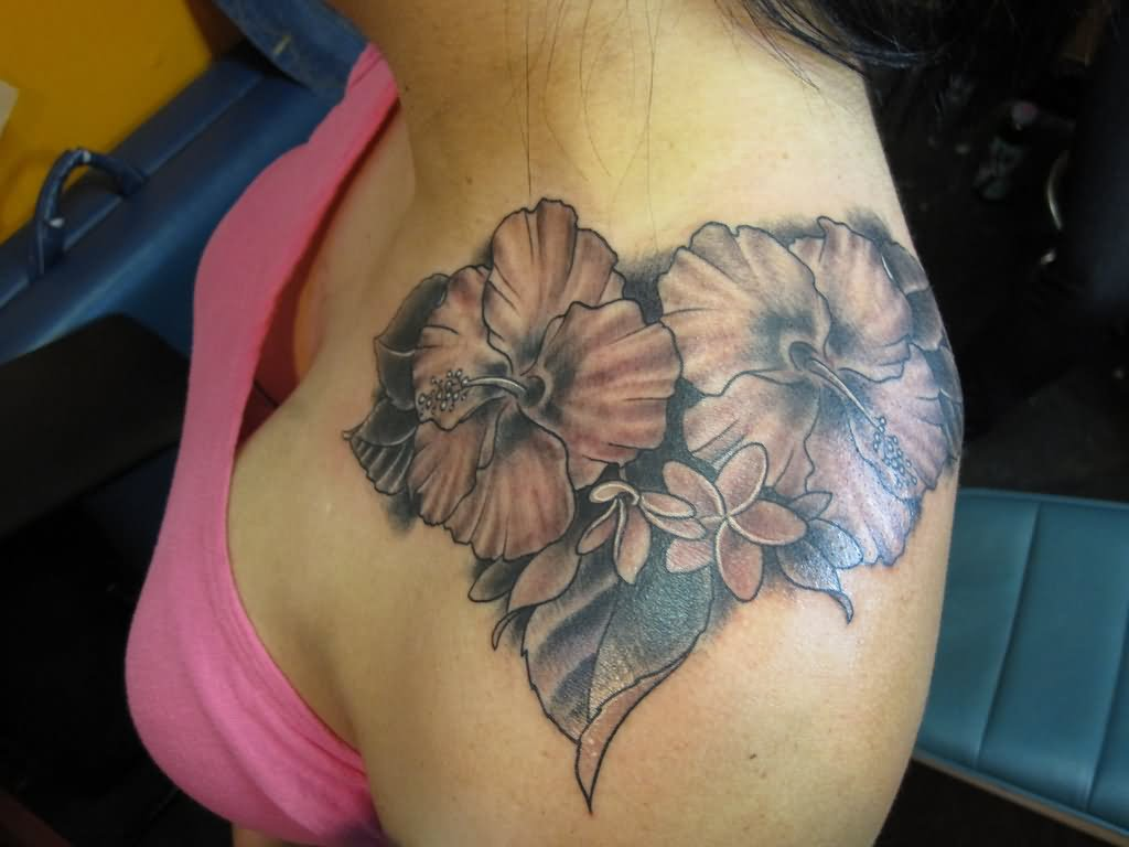 39 flowers shoulder tattoos black and grey hibiscus flower tattoo on women left upper shoulder izmirmasajfo