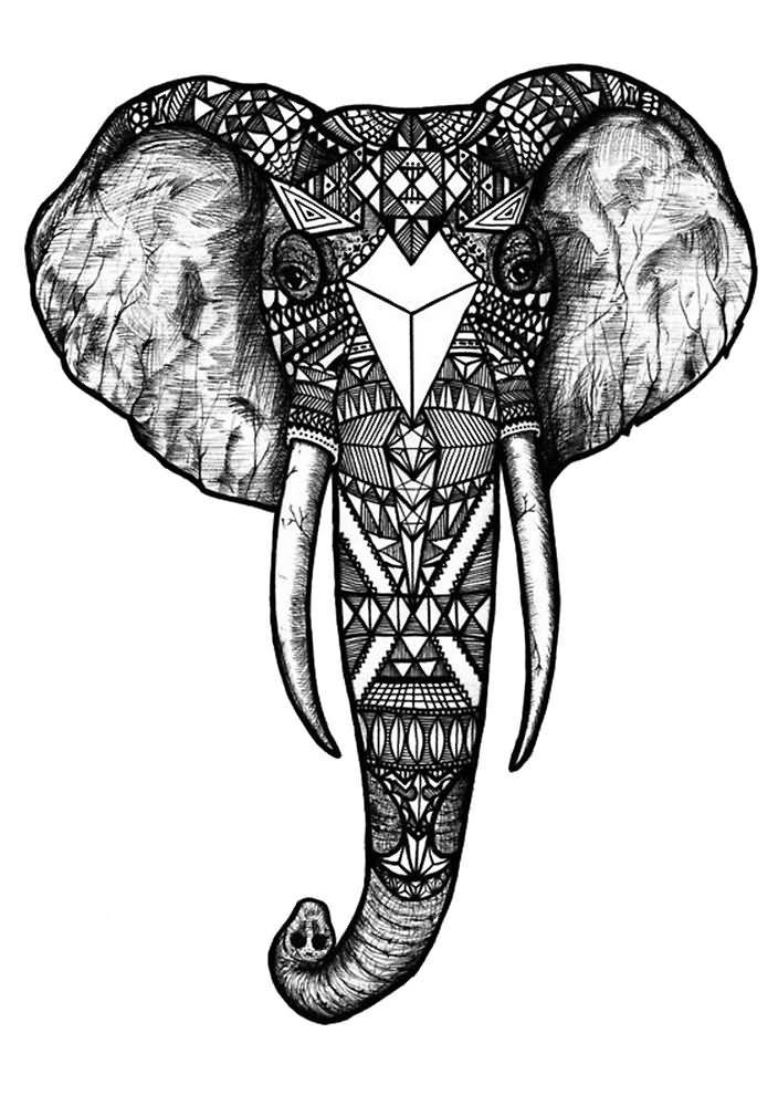 geometric three eye elephant tattoo on man chest. Black Bedroom Furniture Sets. Home Design Ideas
