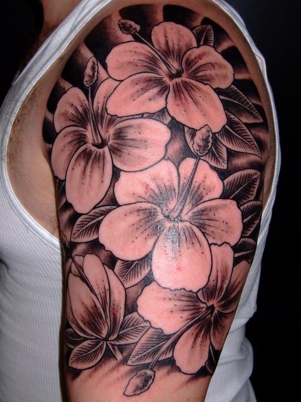 f5a83d553 Black Ink Hibiscus Flowers Tattoo On Man Left Half Sleeve