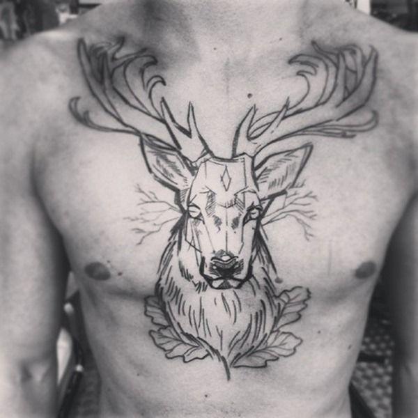 Black Outline Deer Tattoo On Man Chest