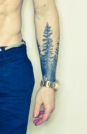 Black Tree Tattoo On Man Left Forearm