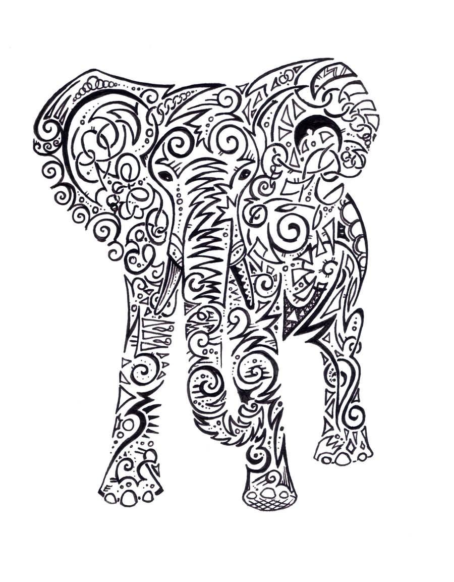 Elephant Line Drawing Tattoo : Black tribal elephant tattoo stencil by annie