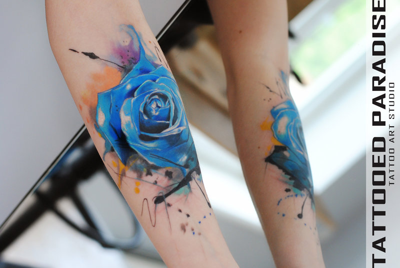 46 Beautiful Watercolor Rose Tattoos