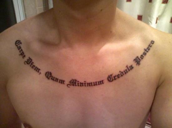 41 quotes tattoos on chest carpe diem quam minimum credula postero quote tattoo on man chest altavistaventures Image collections