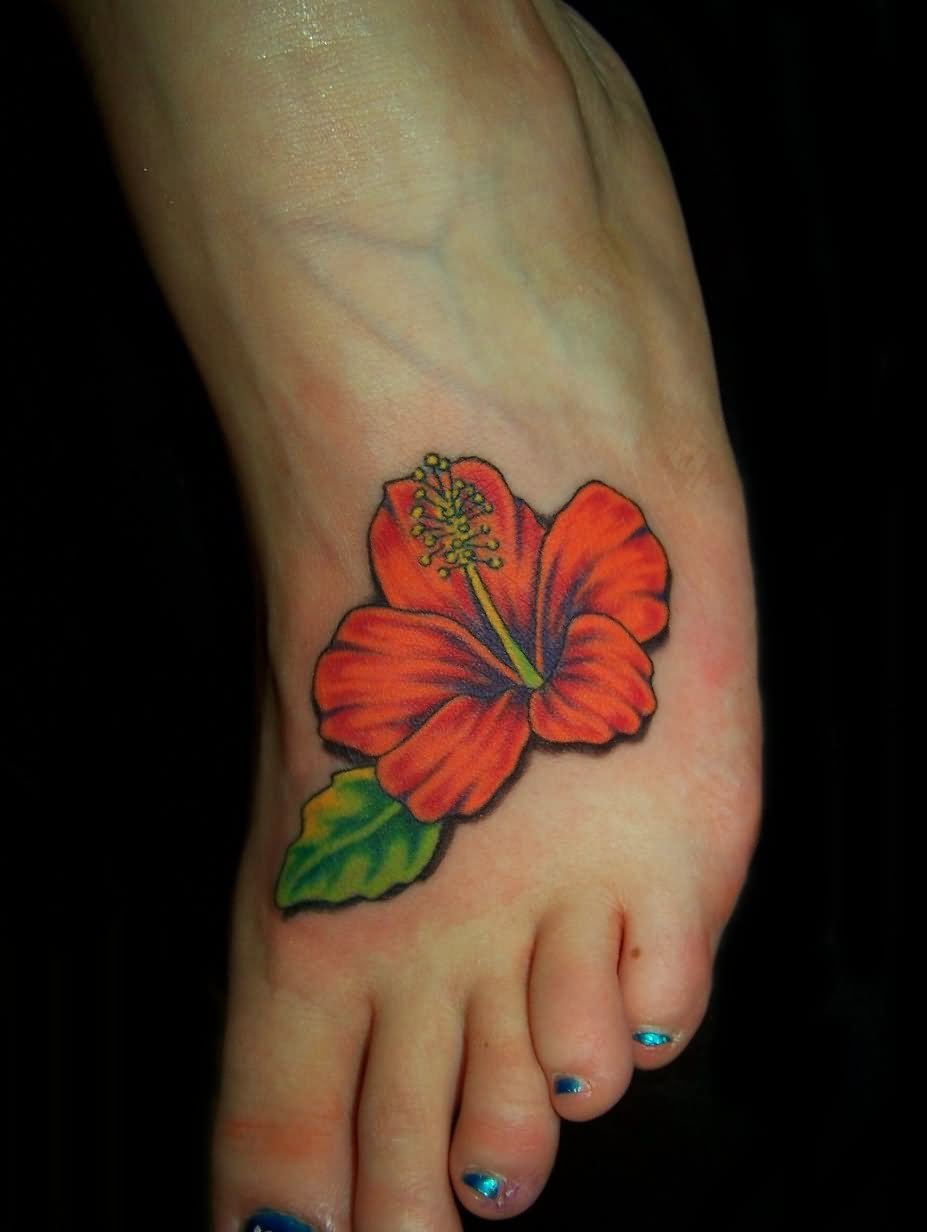 60 best flower tattoos classic hibiscus flower tattoo on girl foot izmirmasajfo