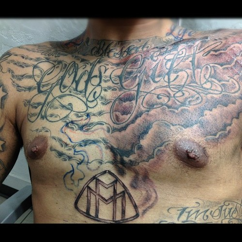 Cloud Chest Piece Tattoo Designs: 25+ Nice Clouds Chest Tattoos