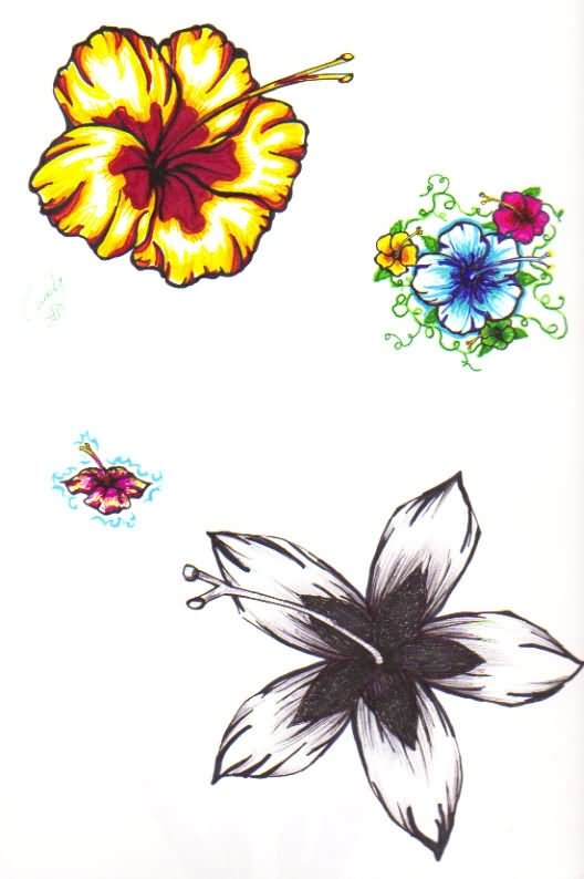 Hibiscus Tattoo Outline: 18+ Awesome Flower Tattoo Designs