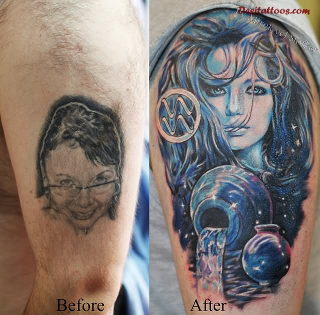 55 cool aquarius tattoos for Cool cover up tattoos