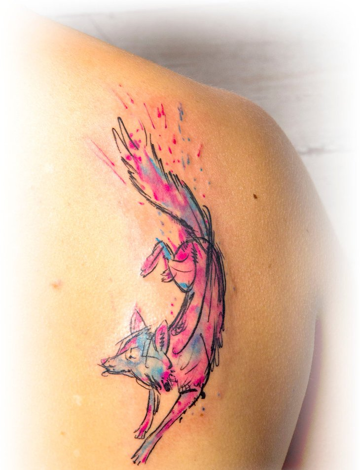 30 cute watercolor fox tattoos