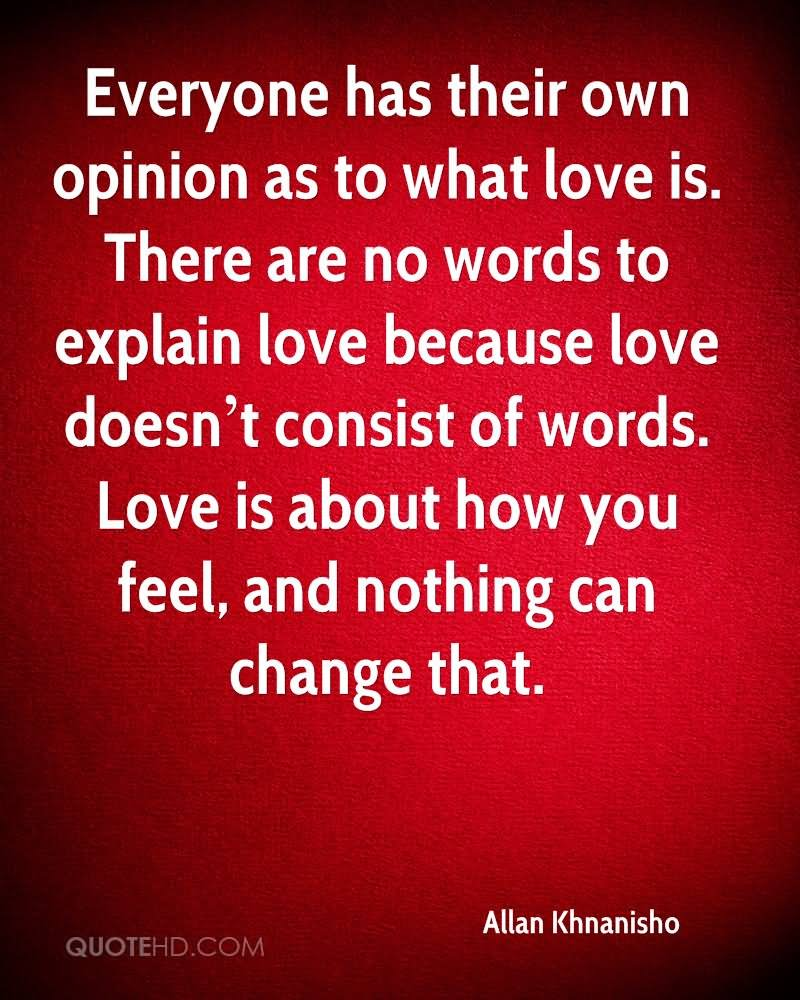 Everyone Has Their Own Opinion As To What Love Is There Are No