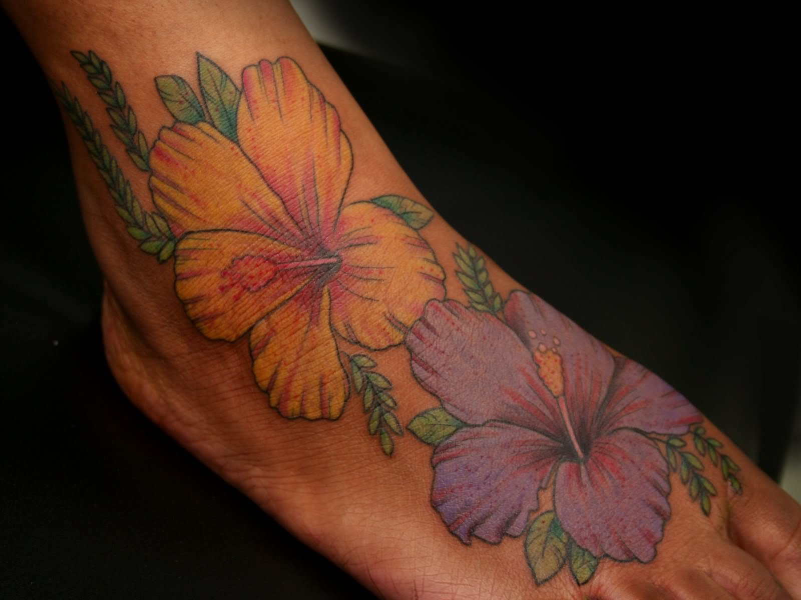 30 amazing flower tattoos on foot fantastic two hibiscus flowers tattoo on right foot izmirmasajfo