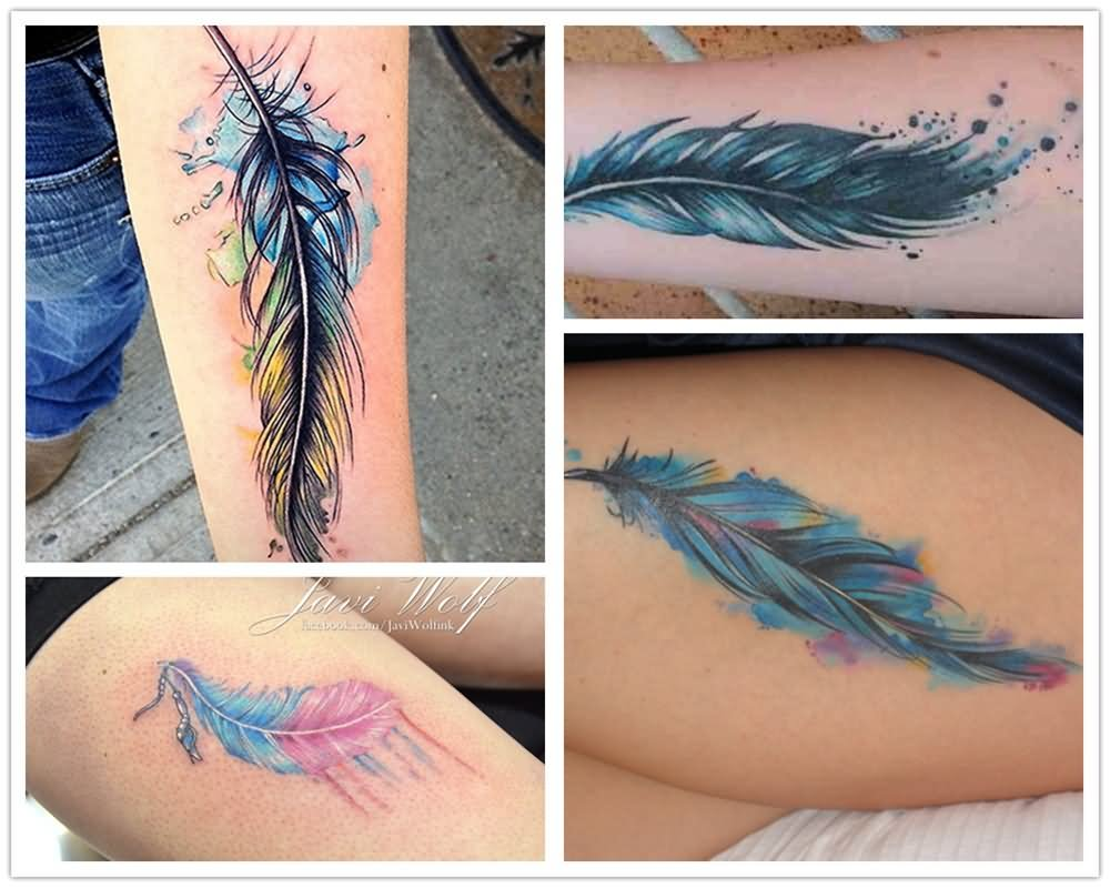 4491d80f42e5b Four Watercolor Feathers Tattoo Design