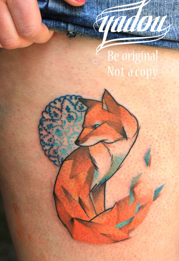 30 cute watercolor fox tattoos. Black Bedroom Furniture Sets. Home Design Ideas