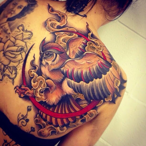 Pretty flying owl tattoo - photo#12