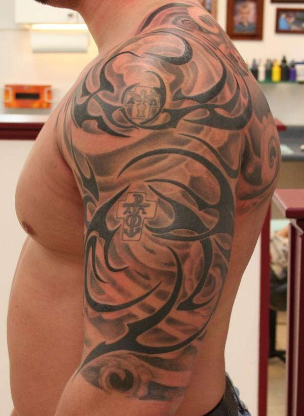 117eae401 Grey Anchor And Black Tribal Tattoo On Left Half Sleeve