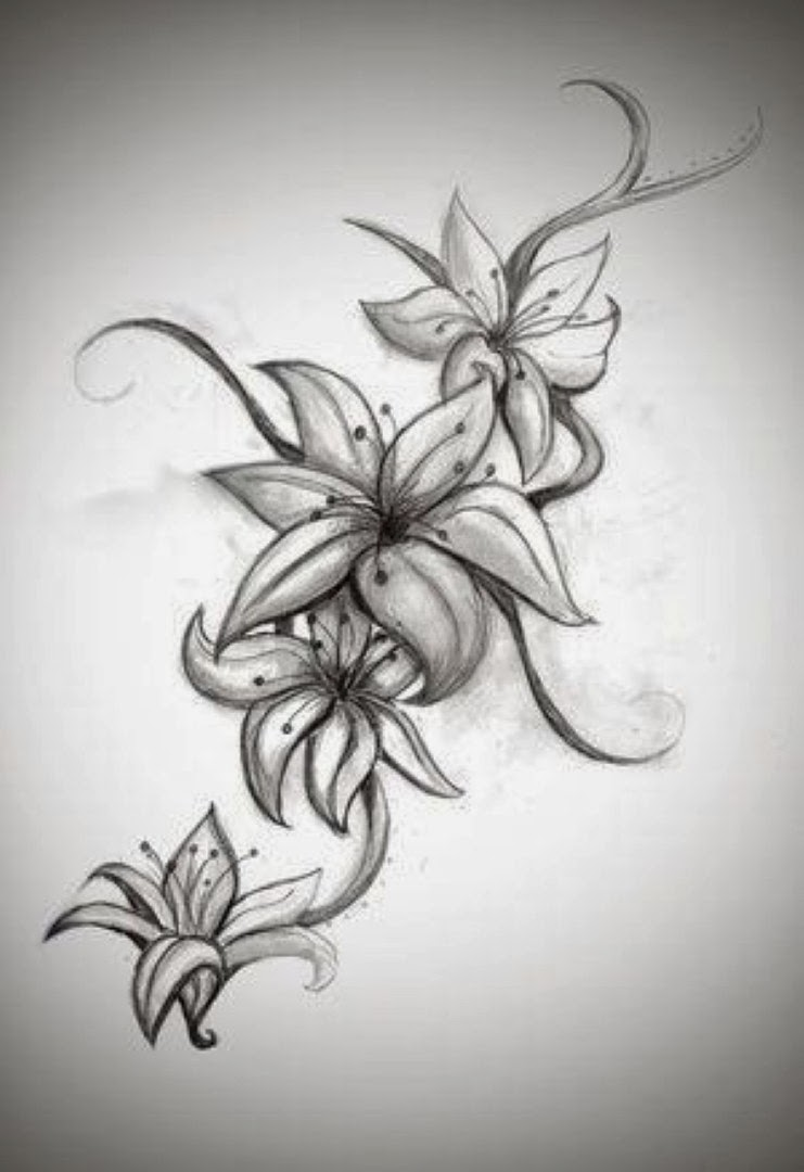Grey ink hibiscus flowers tattoo design by bellarexi izmirmasajfo