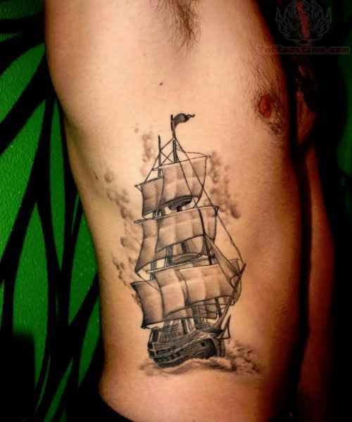 Grey Ink Ship Tatoo On Man Right Side Rib