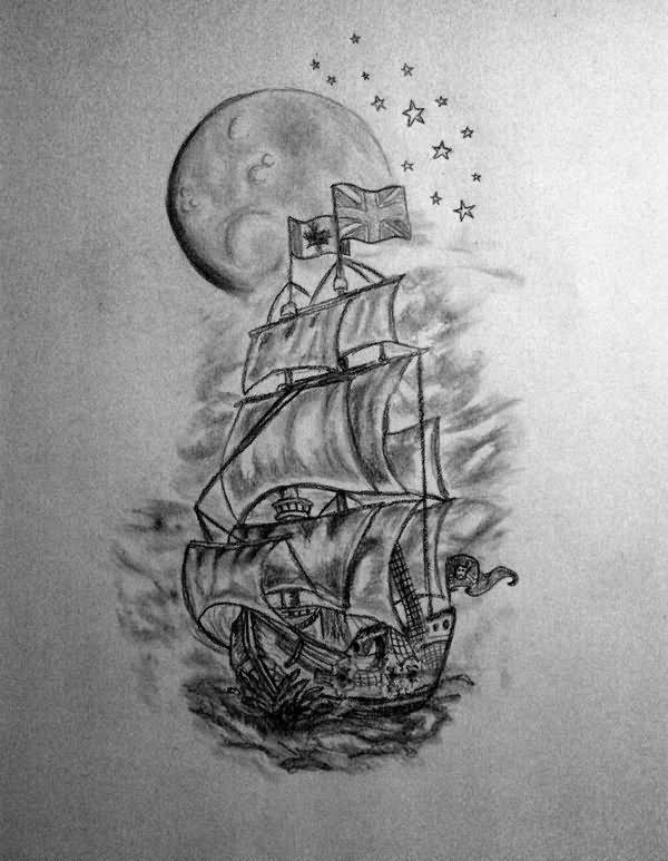 grey ship tattoo design for half sleeve by delfinia98. Black Bedroom Furniture Sets. Home Design Ideas